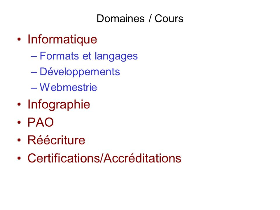 Certifications/Accréditations