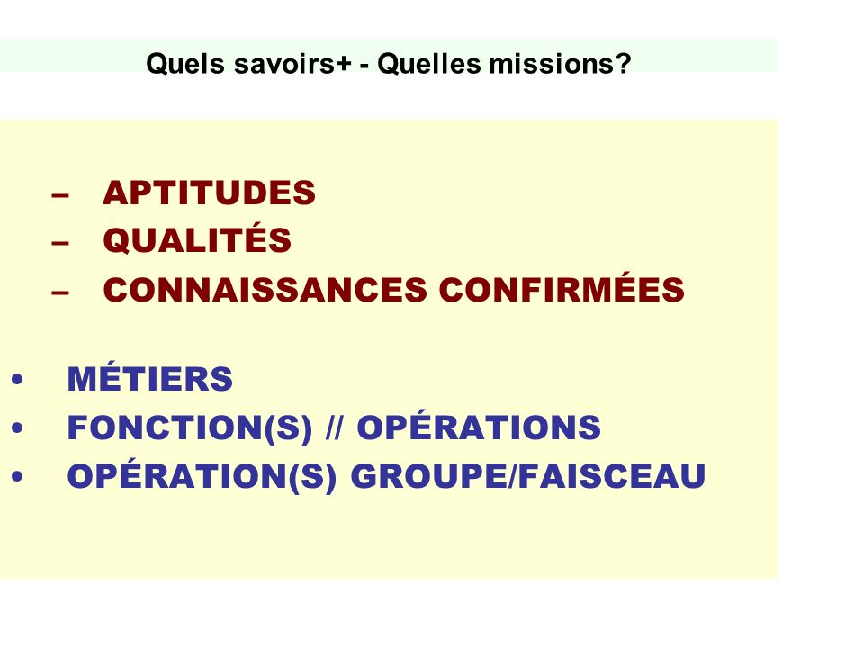 Quels savoirs+ - Quelles missions