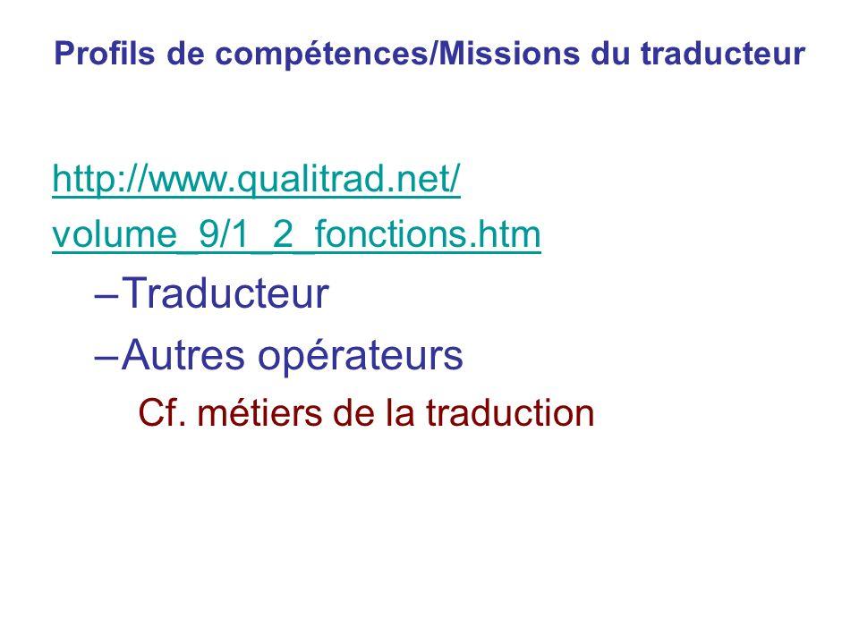 Profils de compétences/Missions du traducteur