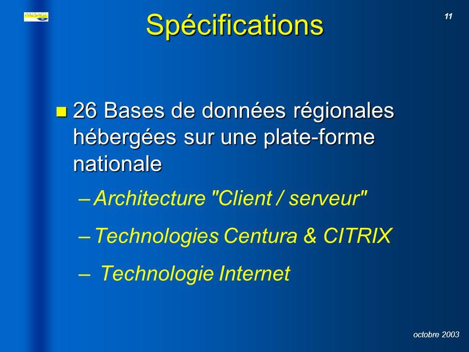 Spécifications 26 Bases de données régionales hébergées sur une plate-forme nationale. Architecture Client / serveur