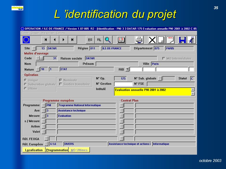 L 'identification du projet