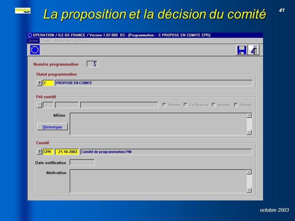 La proposition et la décision du comité