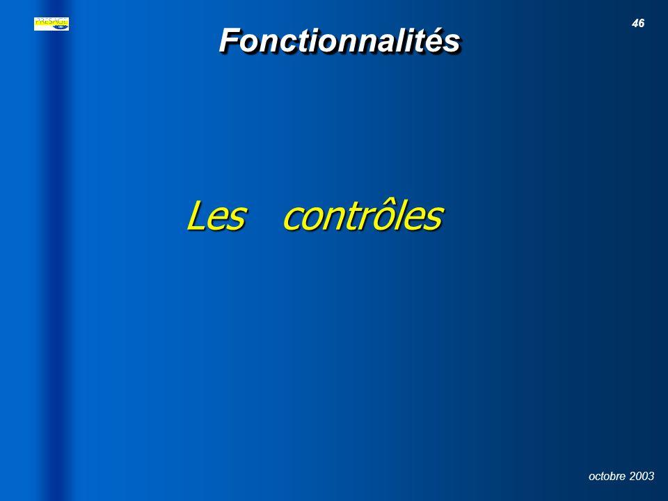 26/03/2017 Fonctionnalités Les contrôles