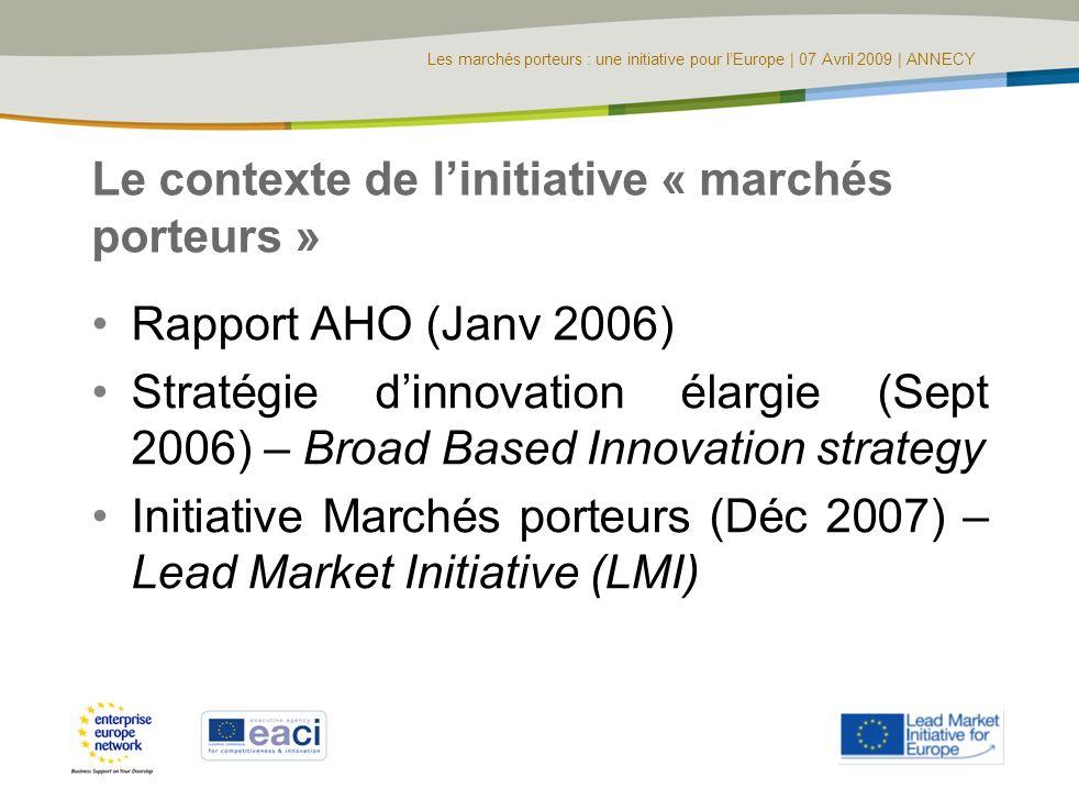 Le contexte de l'initiative « marchés porteurs »
