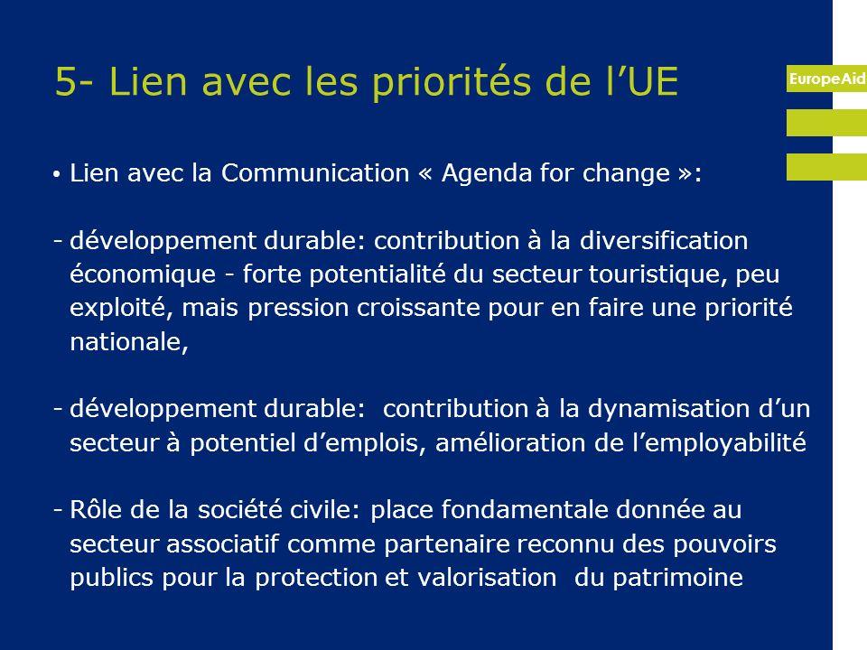 5- Lien avec les priorités de l'UE