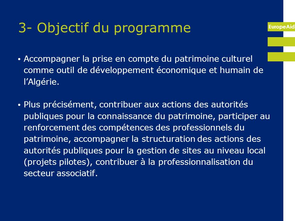 3- Objectif du programme