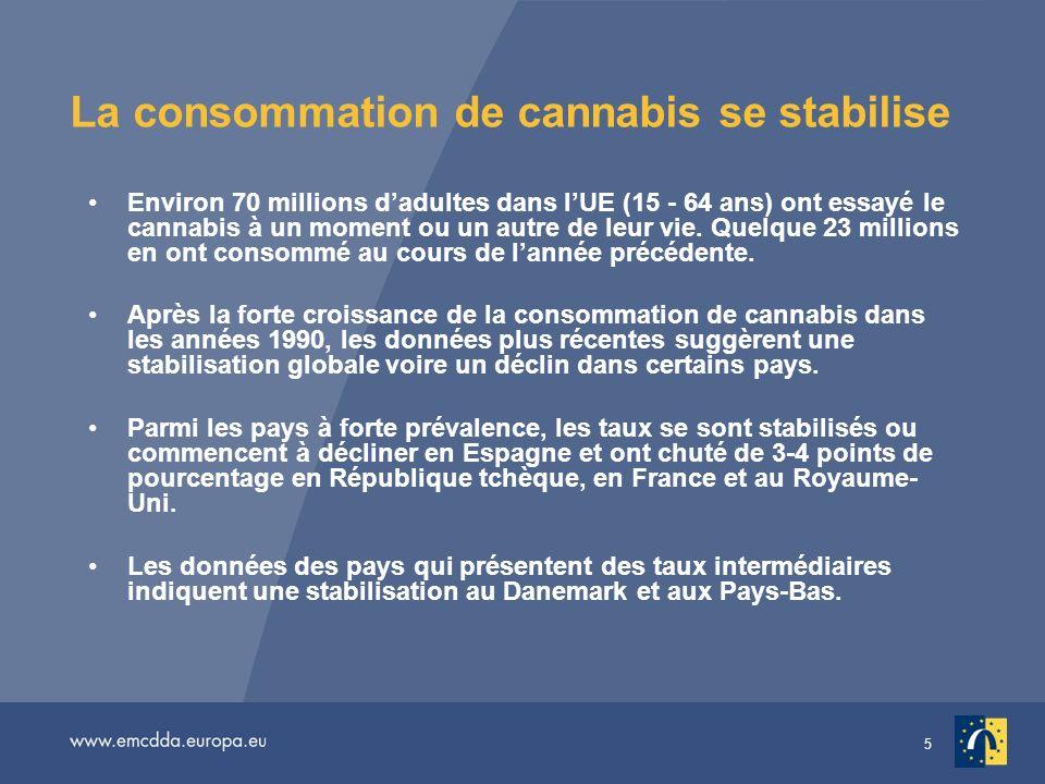 La consommation de cannabis se stabilise