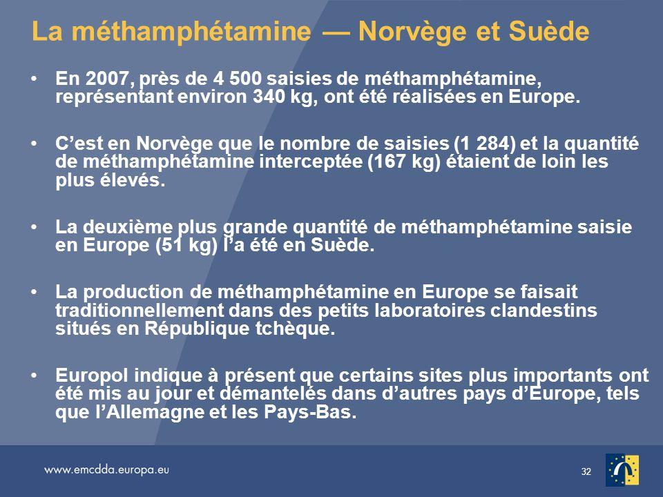 La méthamphétamine — Norvège et Suède