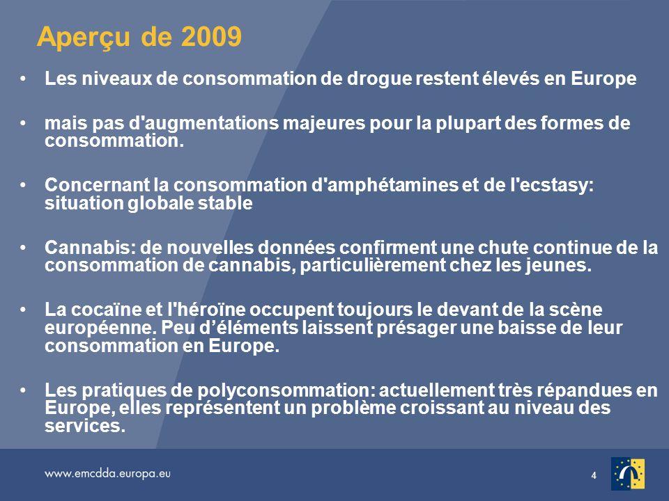 Aperçu de 2009 Les niveaux de consommation de drogue restent élevés en Europe.