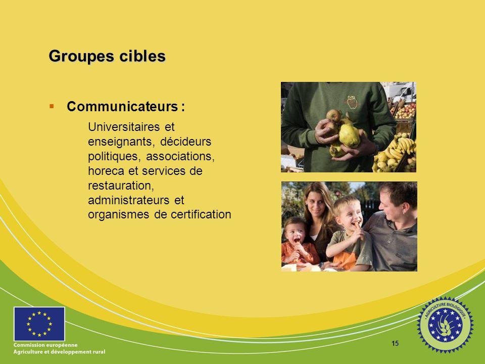 Groupes cibles Communicateurs :
