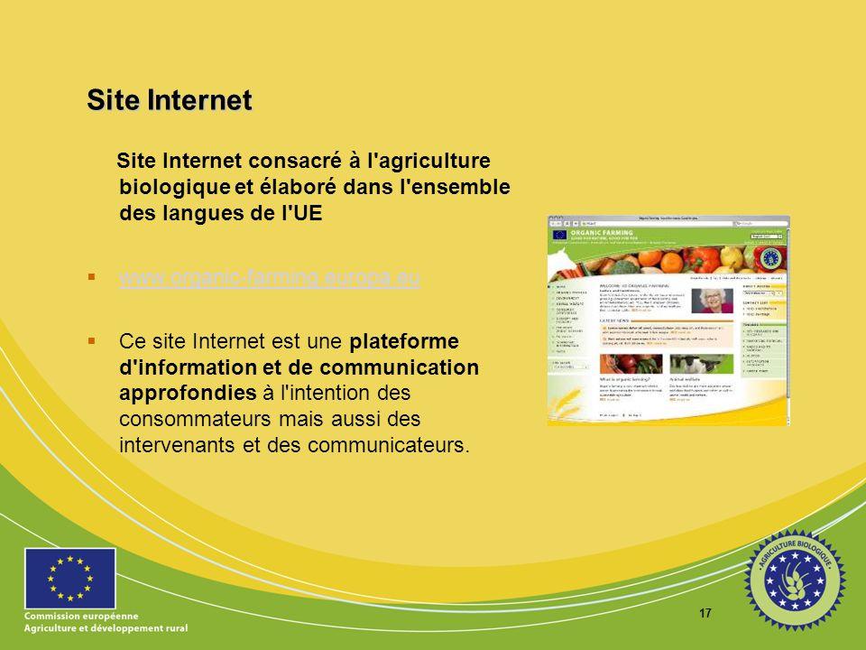 Site Internet Site Internet consacré à l agriculture biologique et élaboré dans l ensemble des langues de l UE.
