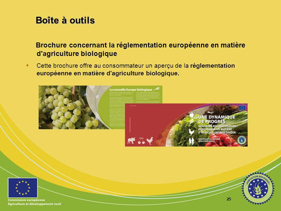 Boîte à outils Brochure concernant la réglementation européenne en matière d agriculture biologique.