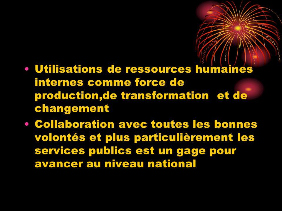 Utilisations de ressources humaines internes comme force de production,de transformation et de changement