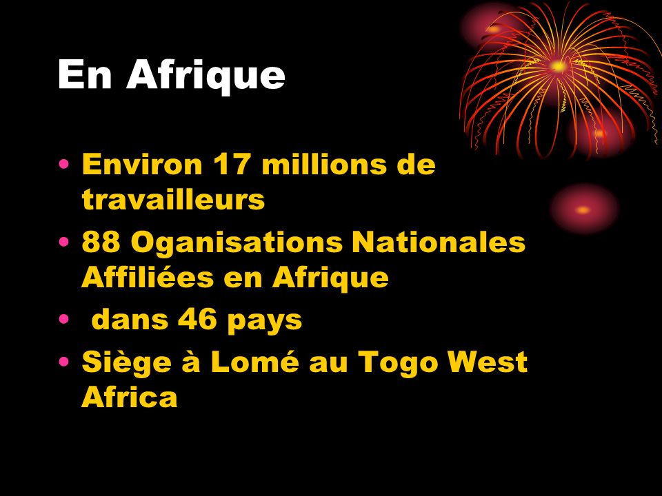 En Afrique Environ 17 millions de travailleurs
