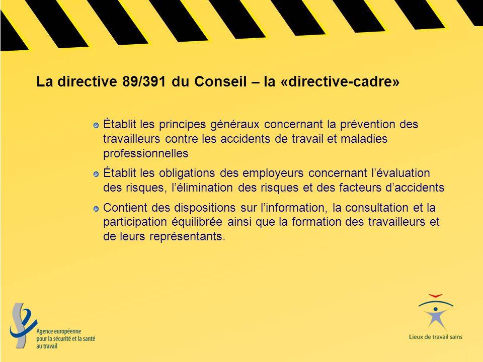 La directive 89/391 du Conseil – la «directive-cadre»