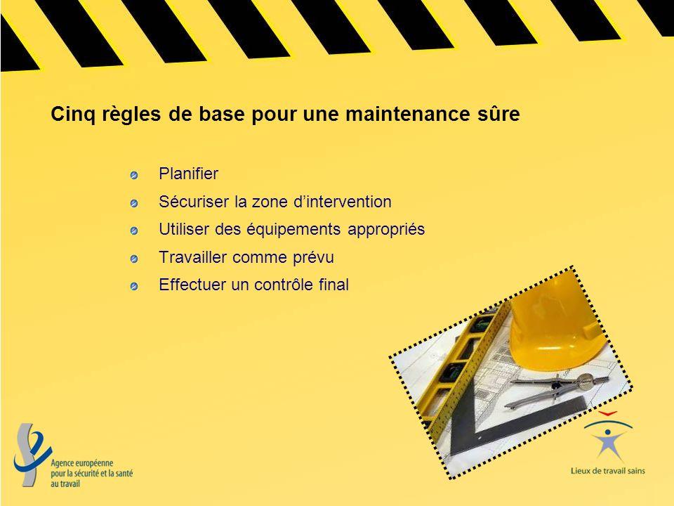 Cinq règles de base pour une maintenance sûre
