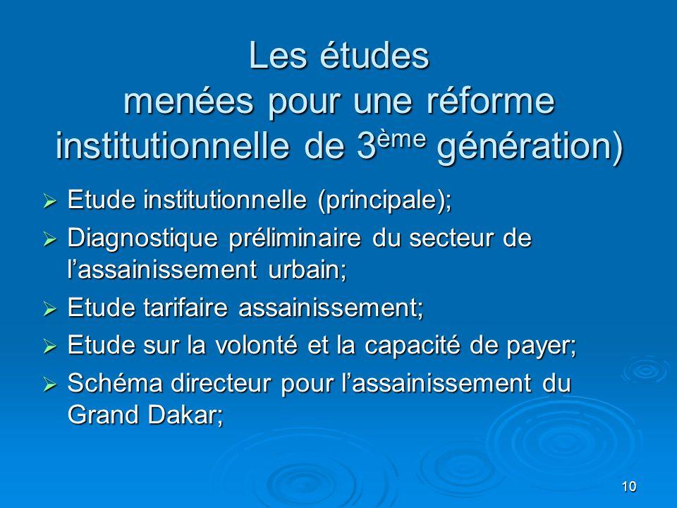 Les études menées pour une réforme institutionnelle de 3ème génération)