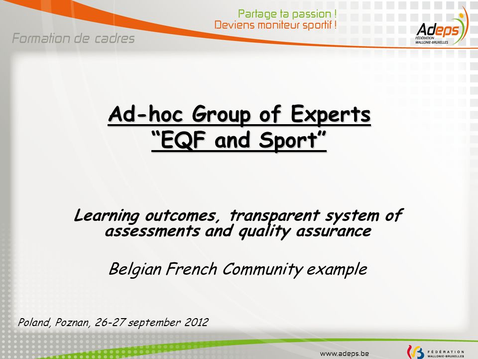 Ad-hoc Group of Experts EQF and Sport