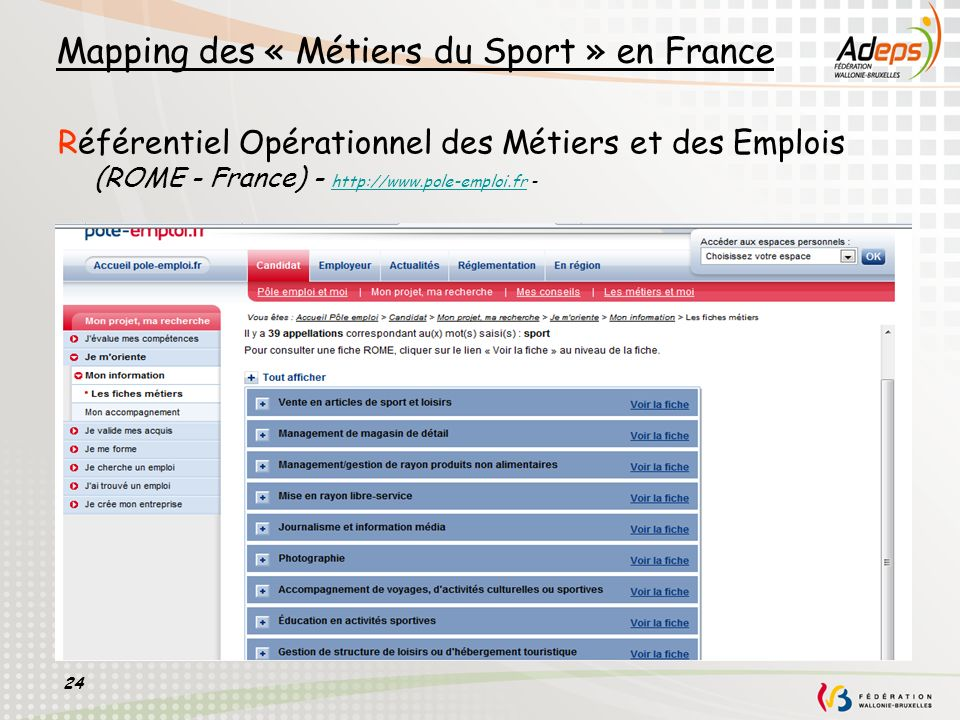 Mapping des « Métiers du Sport » en France