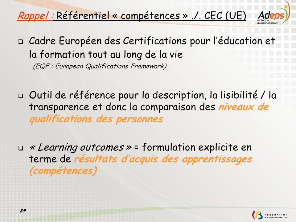 Rappel : Référentiel « compétences » ./. CEC (UE)