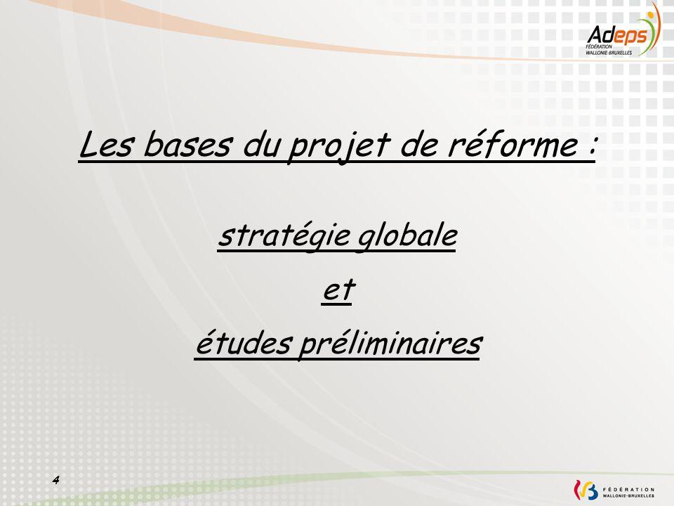 Les bases du projet de réforme : stratégie globale et études préliminaires