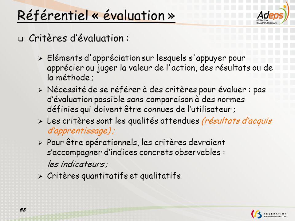 Référentiel « évaluation »