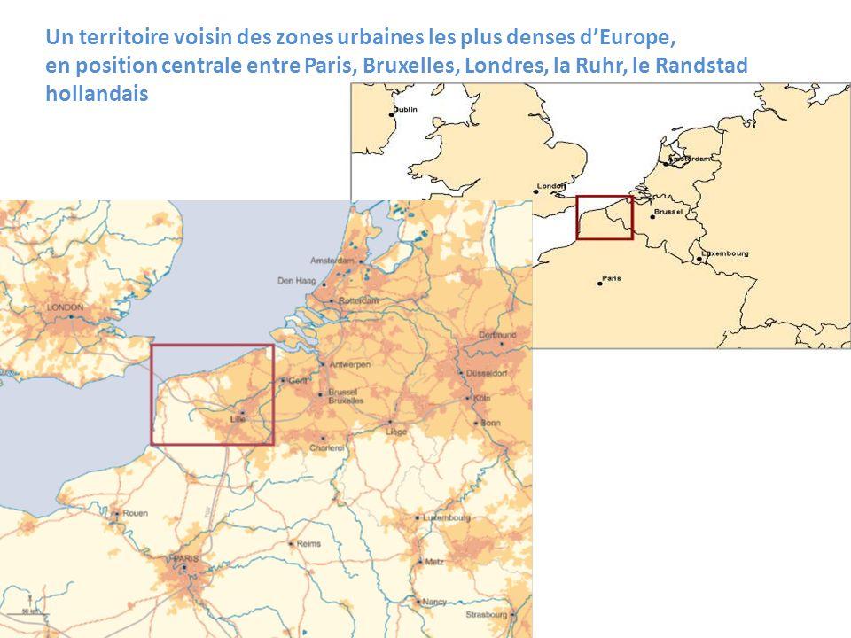 Un territoire voisin des zones urbaines les plus denses d'Europe, en position centrale entre Paris, Bruxelles, Londres, la Ruhr, le Randstad hollandais
