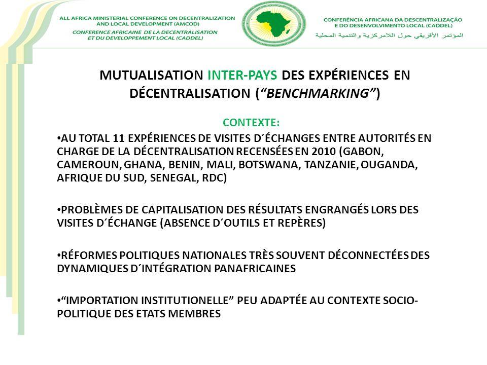 MUTUALISATION INTER-PAYS DES EXPÉRIENCES EN DÉCENTRALISATION ( BENCHMARKING )