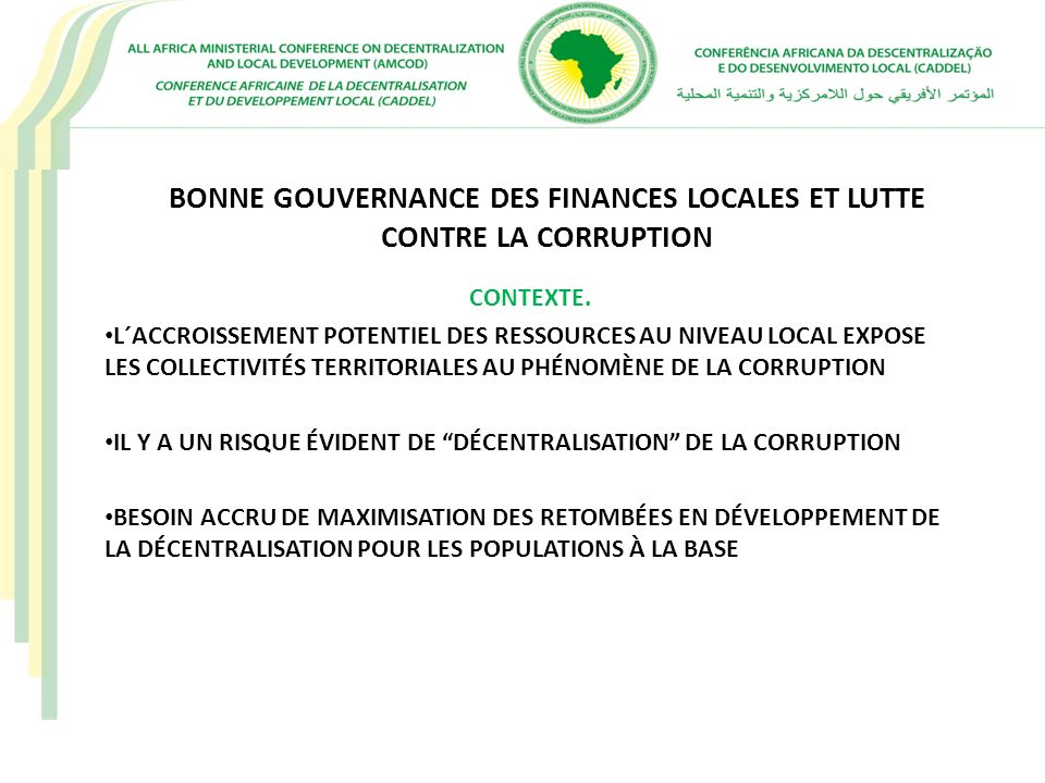 BONNE GOUVERNANCE DES FINANCES LOCALES ET LUTTE CONTRE LA CORRUPTION