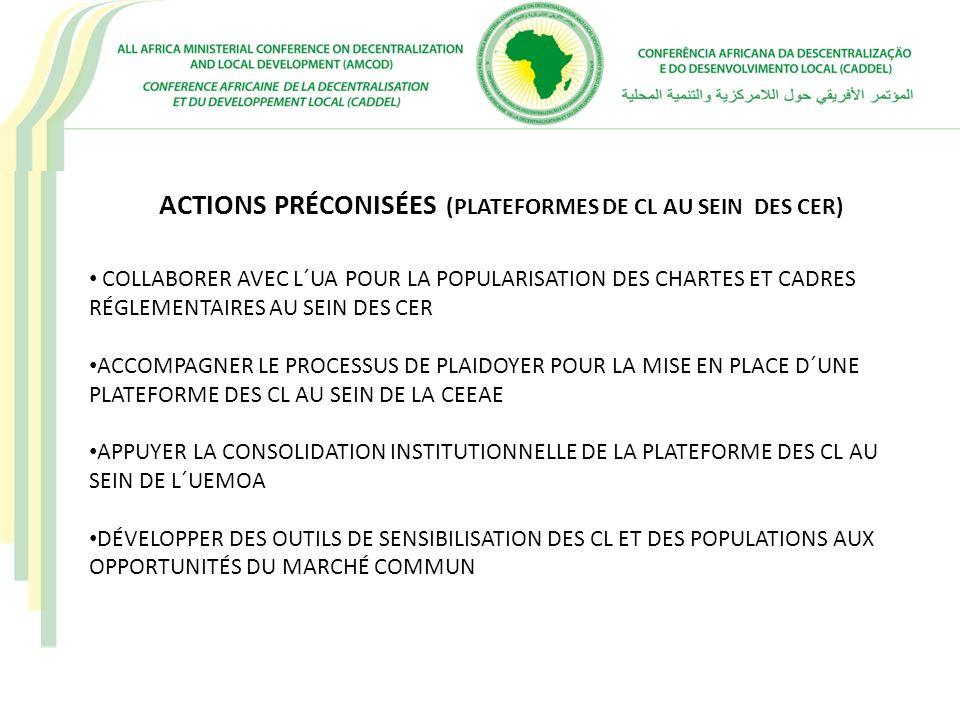ACTIONS PRÉCONISÉES (PLATEFORMES DE CL AU SEIN DES CER)