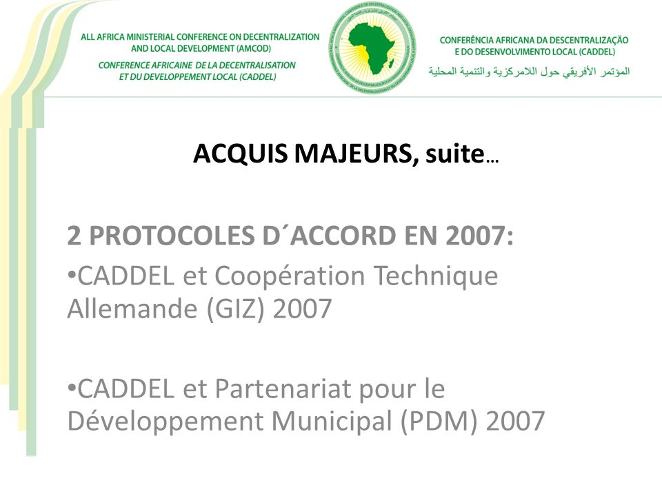 2 PROTOCOLES D´ACCORD EN 2007: