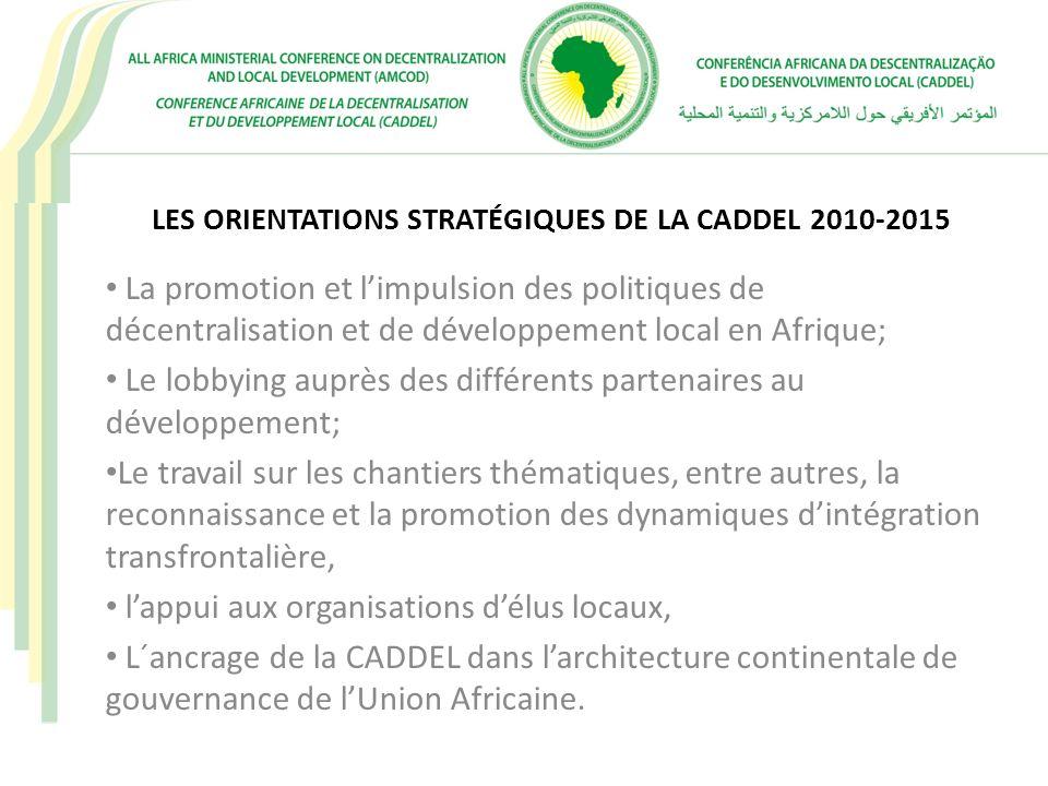 LES ORIENTATIONS STRATÉGIQUES DE LA CADDEL 2010-2015