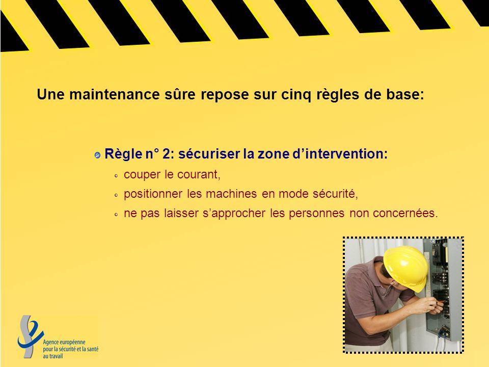 Une maintenance sûre repose sur cinq règles de base: