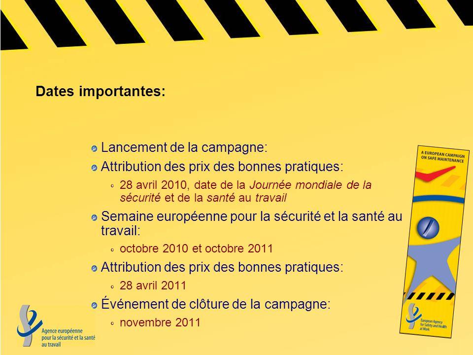 Dates importantes: Lancement de la campagne: