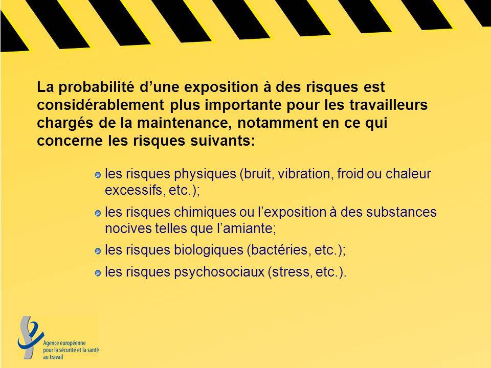 La probabilité d'une exposition à des risques est considérablement plus importante pour les travailleurs chargés de la maintenance, notamment en ce qui concerne les risques suivants: