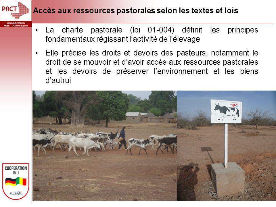 Accès aux ressources pastorales selon les textes et lois