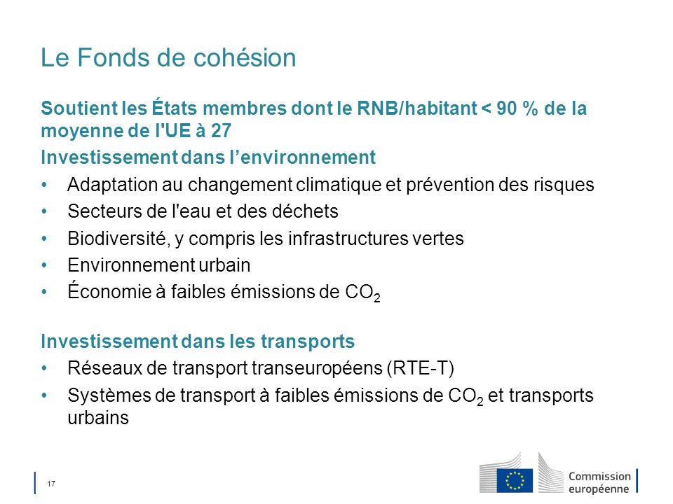 Le Fonds de cohésion Soutient les États membres dont le RNB/habitant < 90 % de la moyenne de l UE à 27.