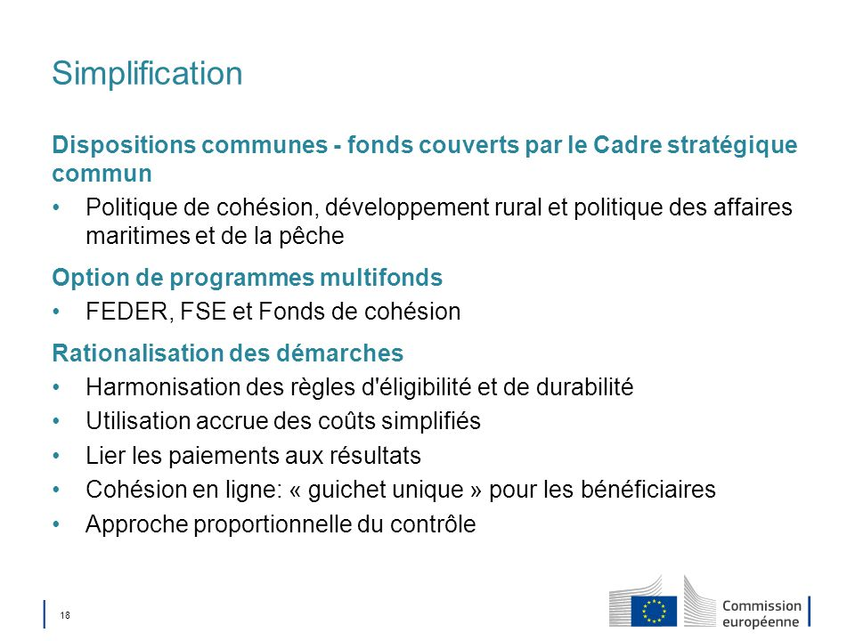 Simplification Dispositions communes - fonds couverts par le Cadre stratégique commun.