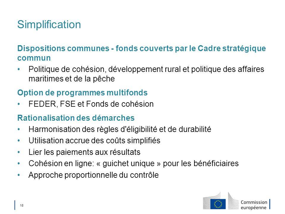 SimplificationDispositions communes - fonds couverts par le Cadre stratégique commun.