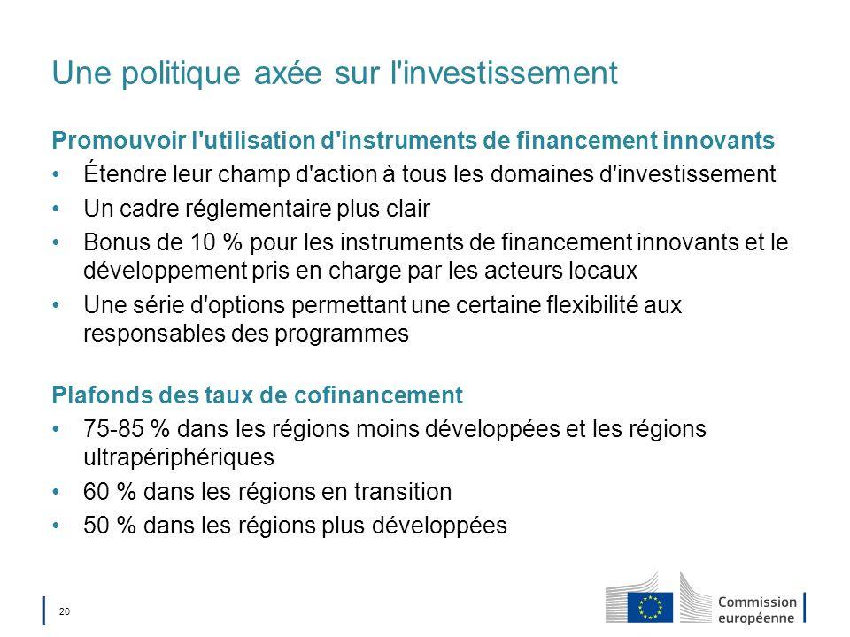 Une politique axée sur l investissement
