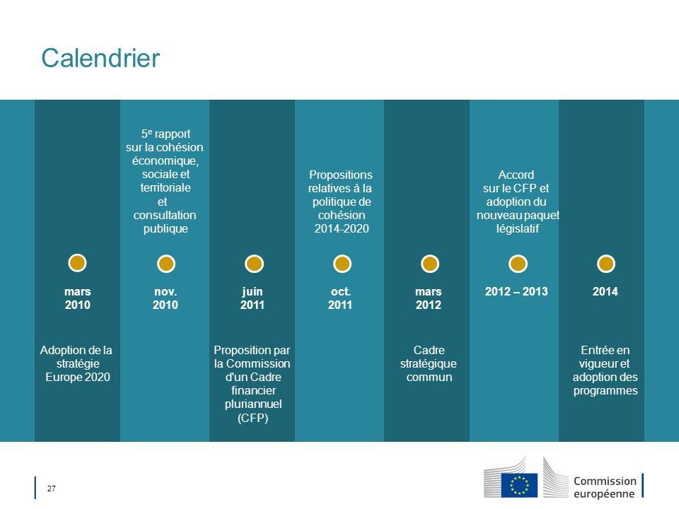 Calendrier 5e rapport sur la cohésion économique, sociale et