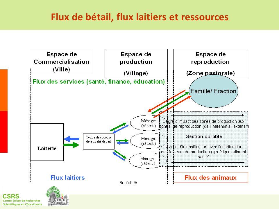 Flux de bétail, flux laitiers et ressources