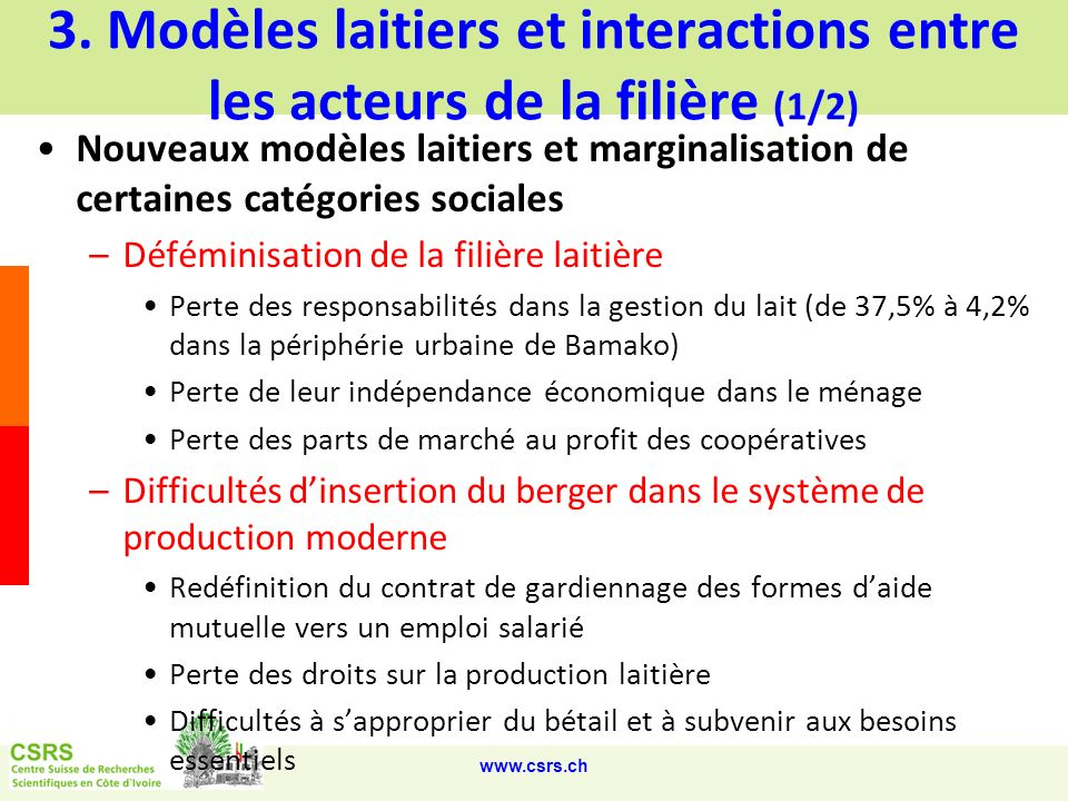 3. Modèles laitiers et interactions entre les acteurs de la filière (1/2)