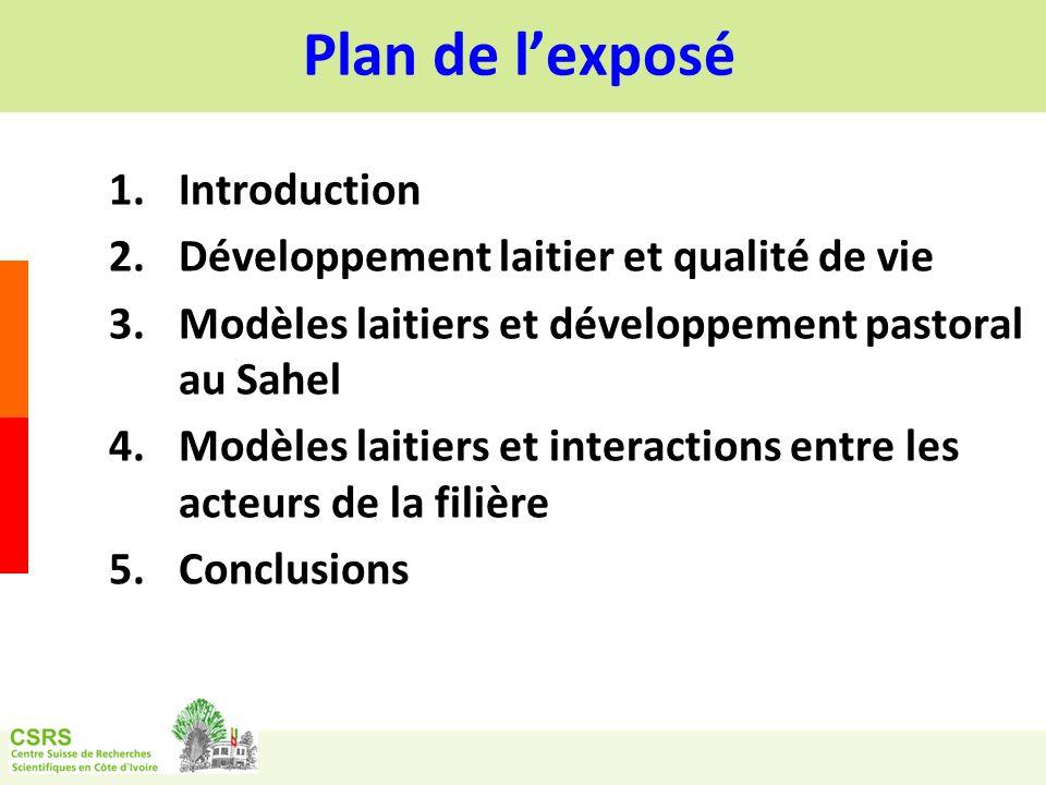 Plan de l'exposé Introduction Développement laitier et qualité de vie