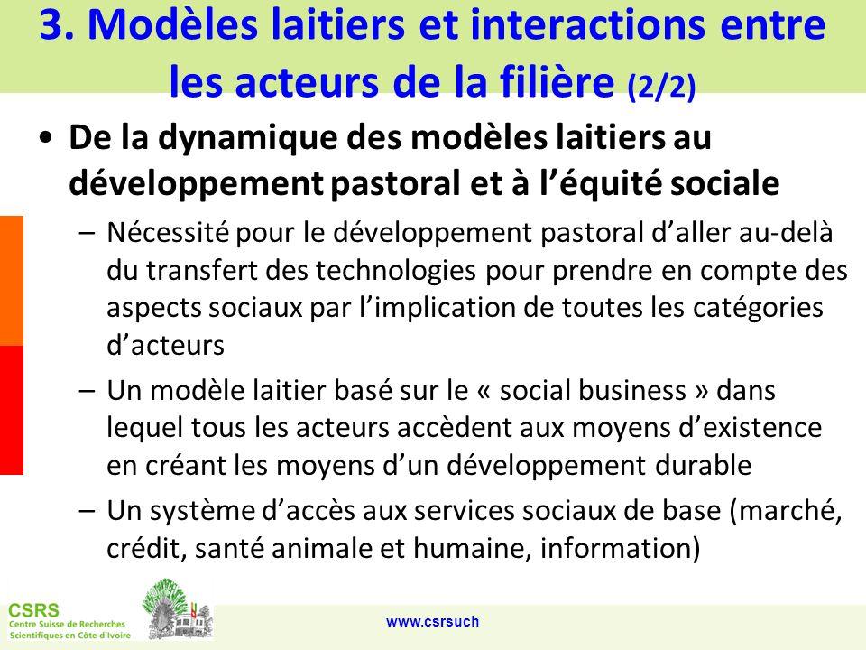 3. Modèles laitiers et interactions entre les acteurs de la filière (2/2)