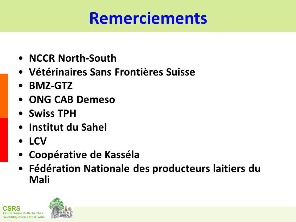 Remerciements NCCR North-South Vétérinaires Sans Frontières Suisse