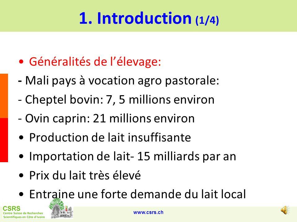 1. Introduction (1/4) Généralités de l'élevage: