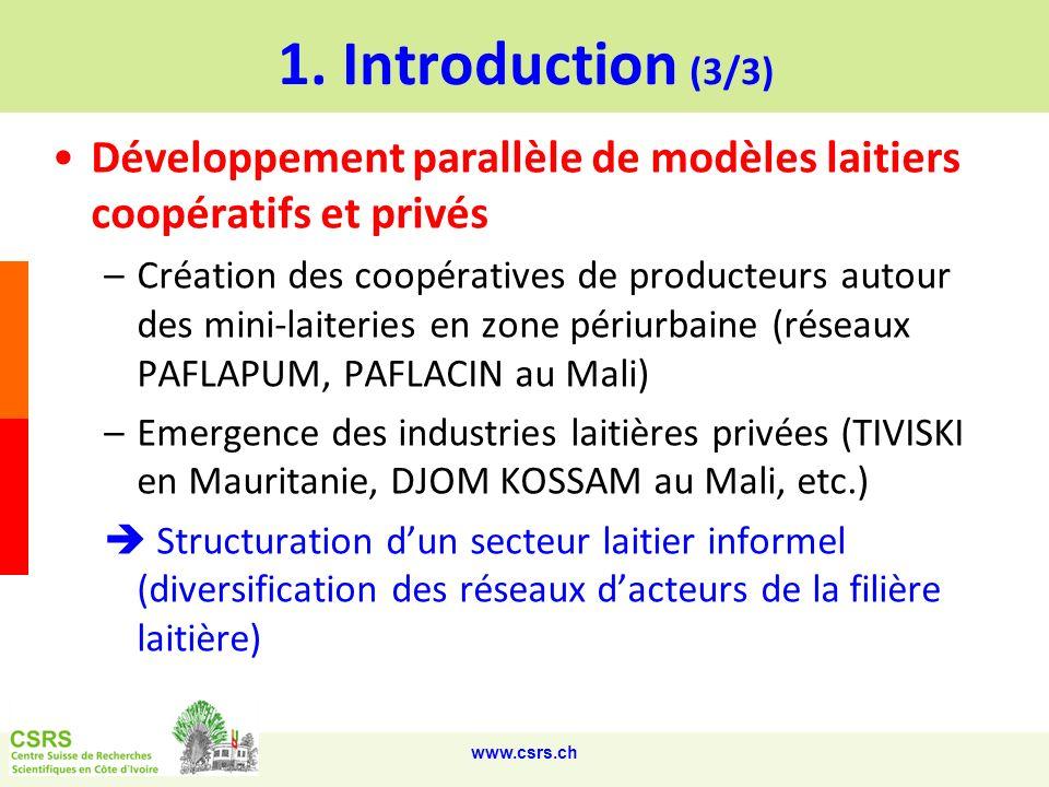 1. Introduction (3/3) Développement parallèle de modèles laitiers coopératifs et privés.