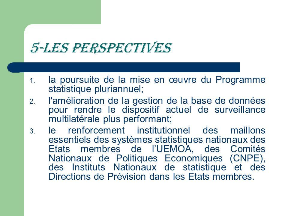 5-Les perspectivesla poursuite de la mise en œuvre du Programme statistique pluriannuel;