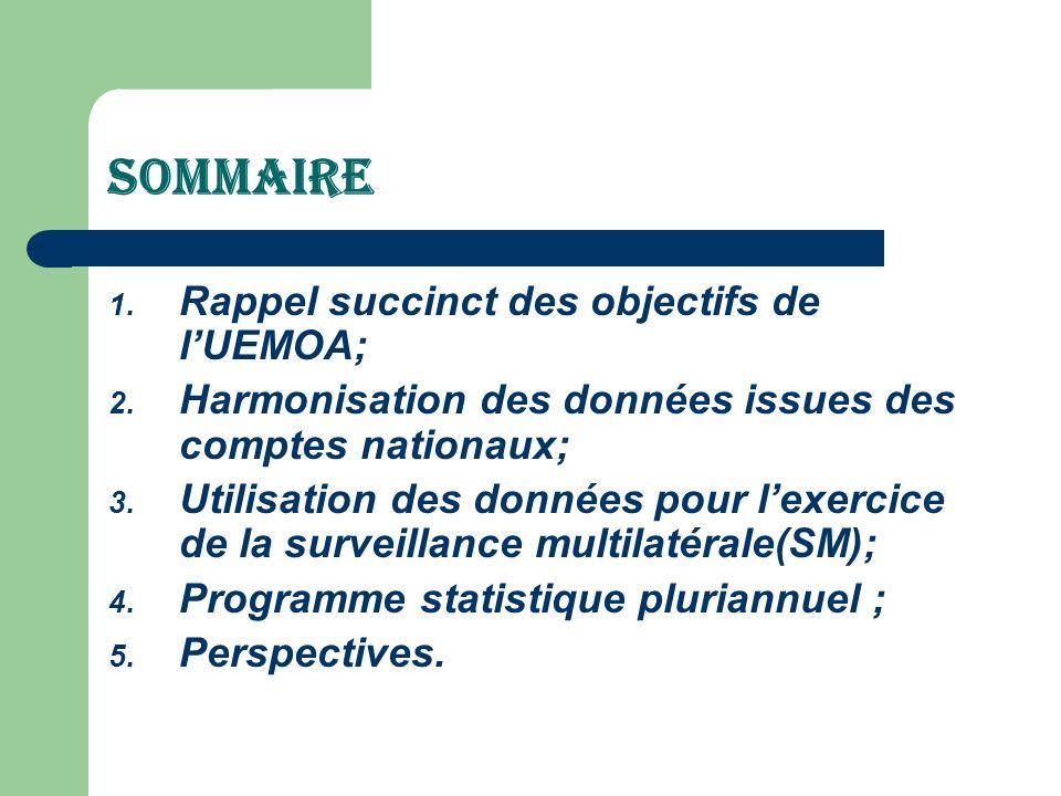 SOMMAIRE Rappel succinct des objectifs de l'UEMOA;